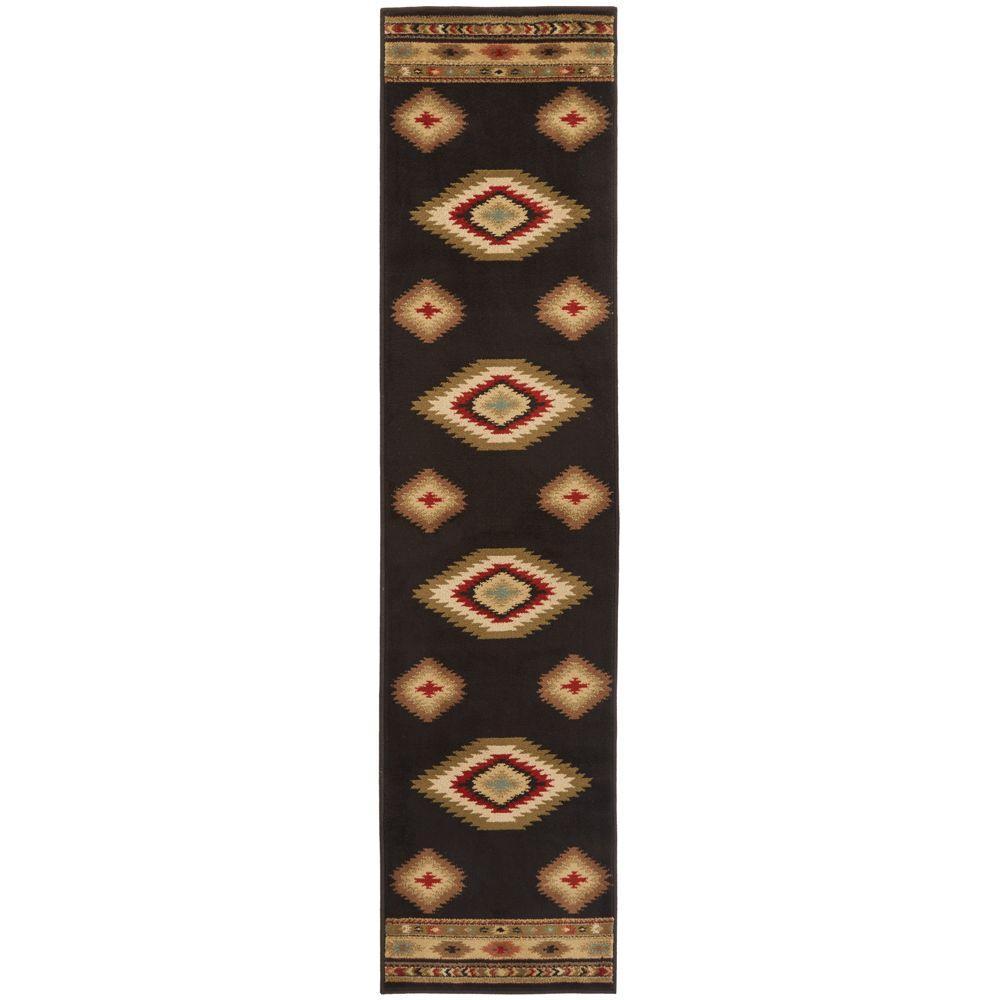 Home Decorators Collection Aztec Black 2 ft. x 8 ft. Runner Rug