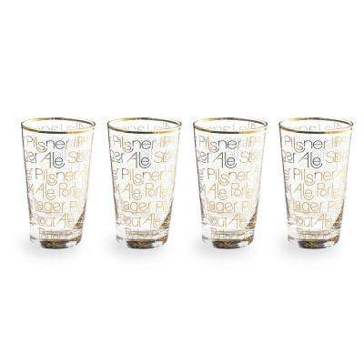 Cheers Gold 12 oz. Pint Glasses (Set of 4)
