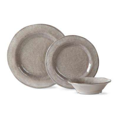 Lanai Melamine Gray Dinnerware Set (12-Pack)