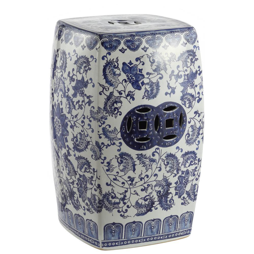 18.5 in. Blue/White Chinoiserie Floral Vine Ceramic Square Garden Stool