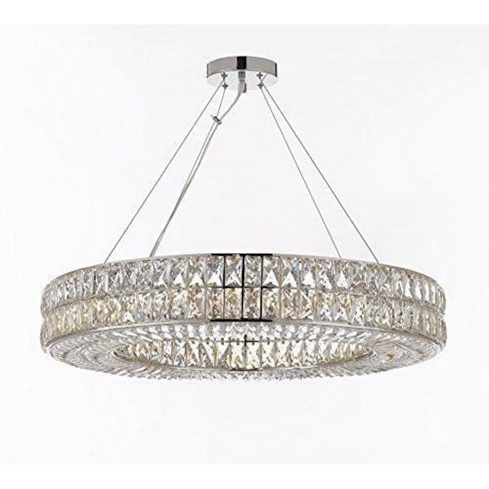 Harrison Lane Modern 14 Light Chrome Crystal Nimbus Ring Chandelier