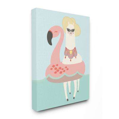 "30 in. x 40 in. ""Cartoon Glam Llama In a Flamingo Float"" by Daphne Polselli Canvas Wall Art"
