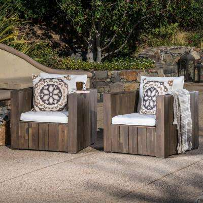 Gray Slatted Wood Outdoor Lounge Chairs with White Cushion (2-Pack)
