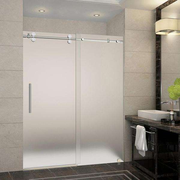 Langham 56 in. to 60 in. x 75 in. Completely Frameless Sliding Shower Door with Frosted Glass in Chrome