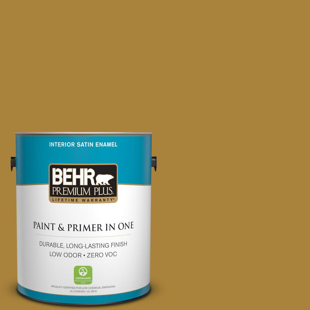 1-gal. #340D-7 Golden Green Zero VOC Satin Enamel Interior Paint