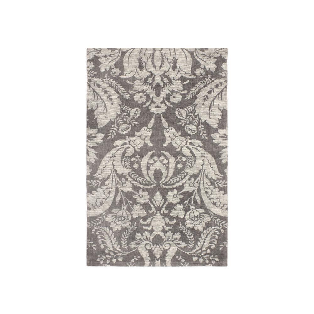 Connemara Gray Jacquard Chenille 2 ft. x 4 ft. Textured Area Rug