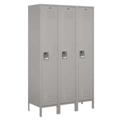 18-51000 Series 3 Compartments Single Tier 54 In. W x 78 In. H x 18 In. D Metal Locker Unassembled in Gray