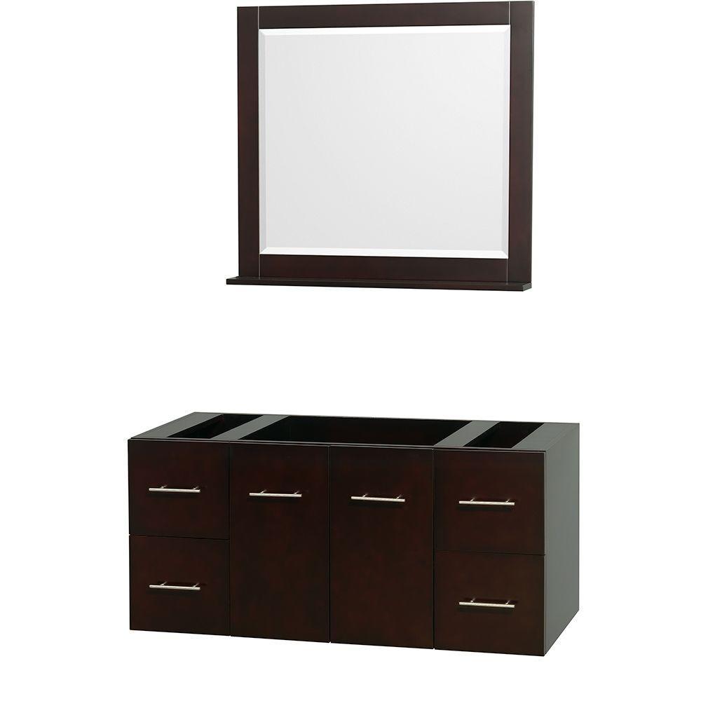 Centra 47 in. Vanity Cabinet with Mirror in Espresso