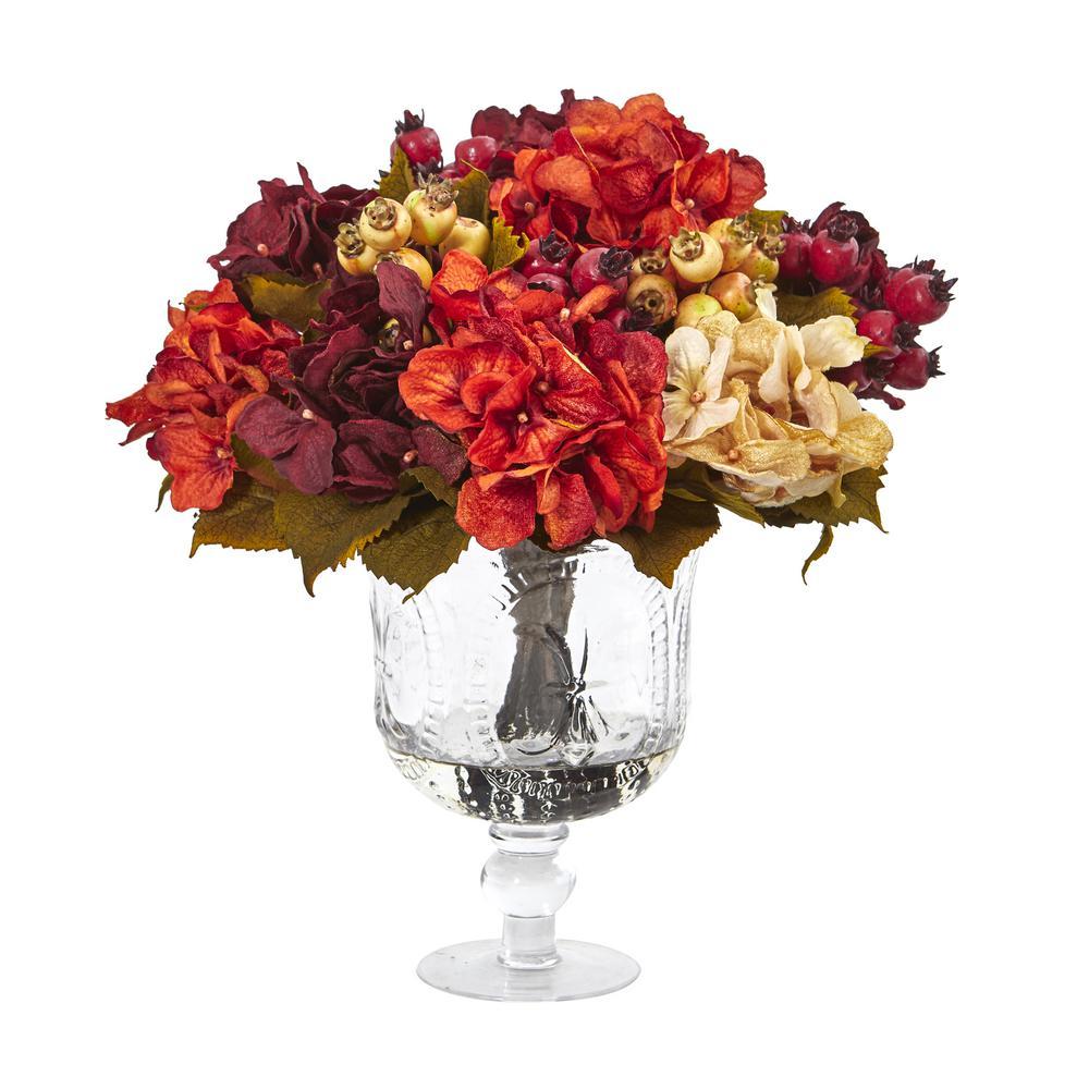 15 in. Autumn Hydrangea Berry Artificial Arrangement in Glass Urn
