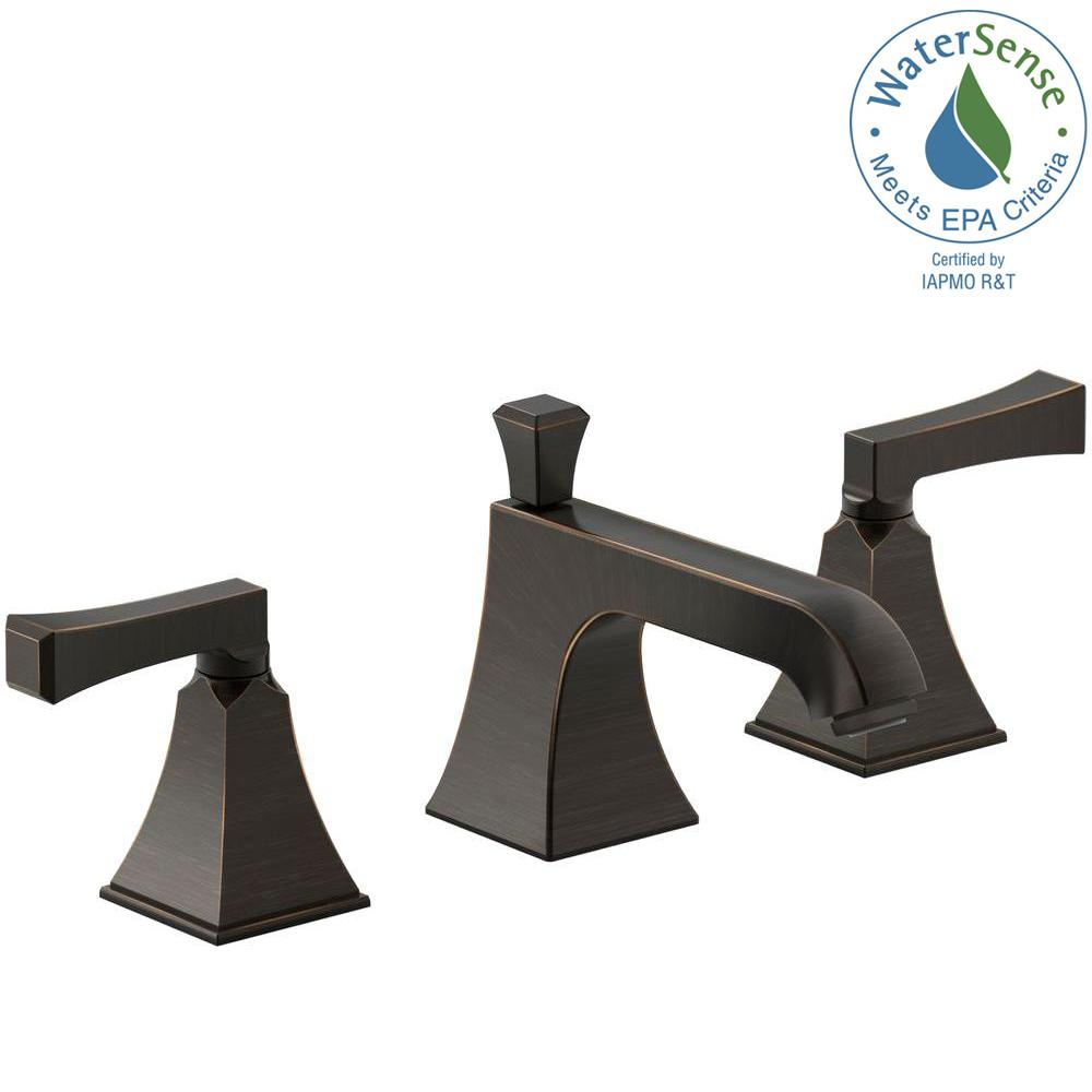 KOHLER Memoirs 8 in. Widespread 2-Handle Water-Saving Bathroom Faucet with Deco Lever Handle in Oil-Rubbed Bronze