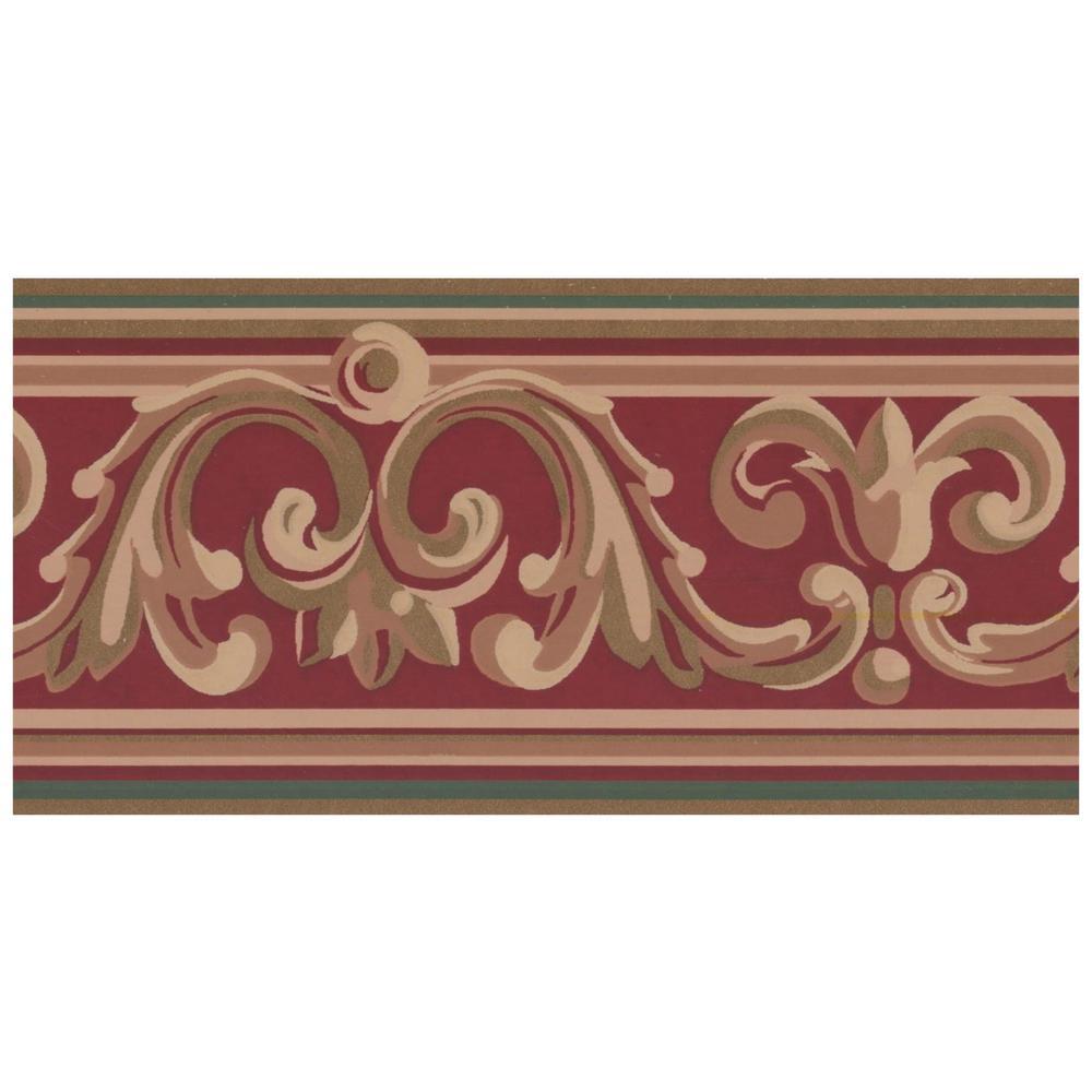 Home Depot Wallpaper Borders.Beige Green Damsk Vines On Garnet Red Prepasted Wallpaper Border