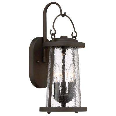 Haverford Grove Collection 3-Light Oil Rubbed Bronze Finish Outdoor Wall Mount Lantern with Clear Crackle Glass