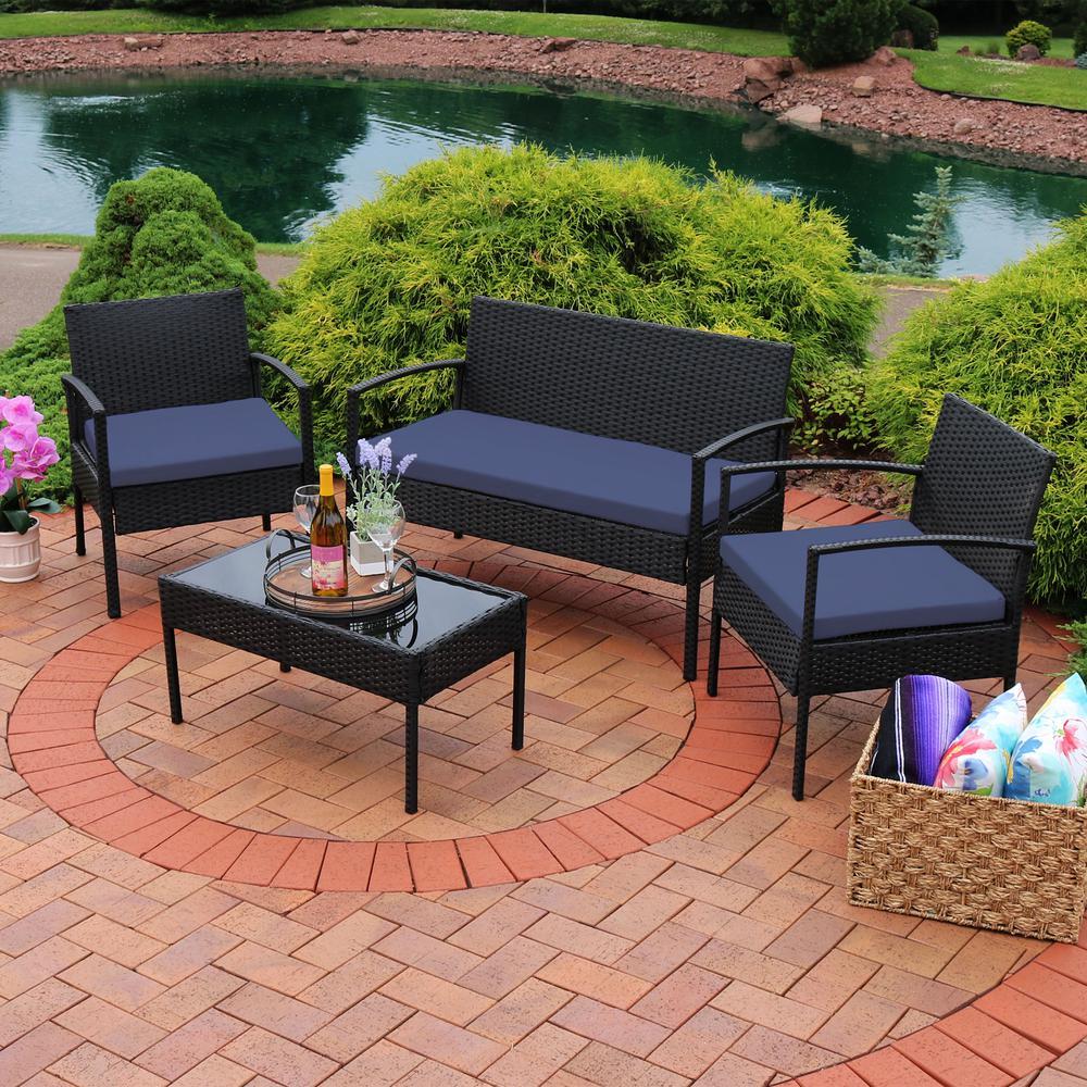 Anadia 4 piece black rattan outdoor conversation set with dark blue cushions