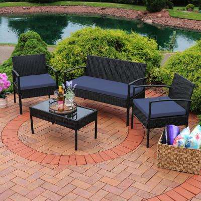 Anadia 4-Piece Black Rattan Outdoor Conversation Set with Dark Blue Cushions