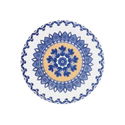 7.87 in. Floreal Blue and Yellow Salad Plates (Set of 12)