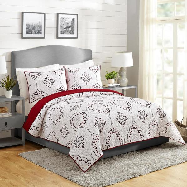 Chambers 3-Piece Red King Cotton Quilt Set