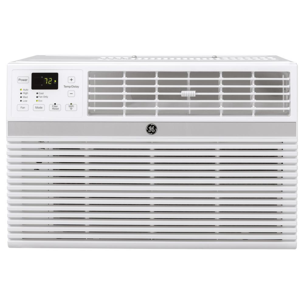 GE 18,000 BTU 230-Volt Smart Window Air Conditioner with Remote in Gray