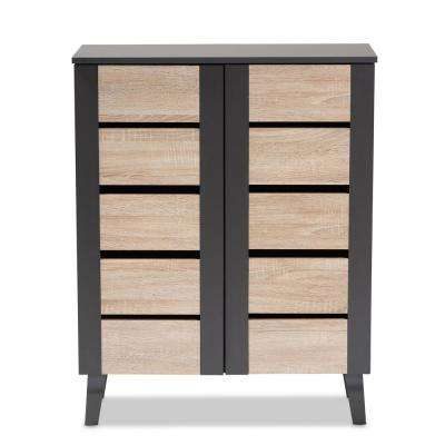 Melle 37 in. H x 30 in. W 8-Pair Oak and Gray Wood Shoe Storage Cabinet