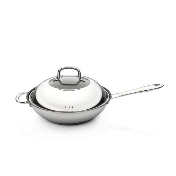 BergHOFF CollectNCook 11 in. Stainless Steel Non-Stick Covered Wok 4491004