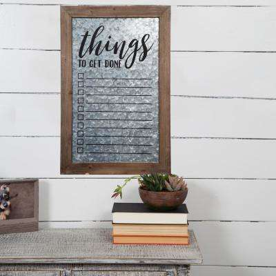 Things to Do Galvanized Silver Dry Erase Memo Board