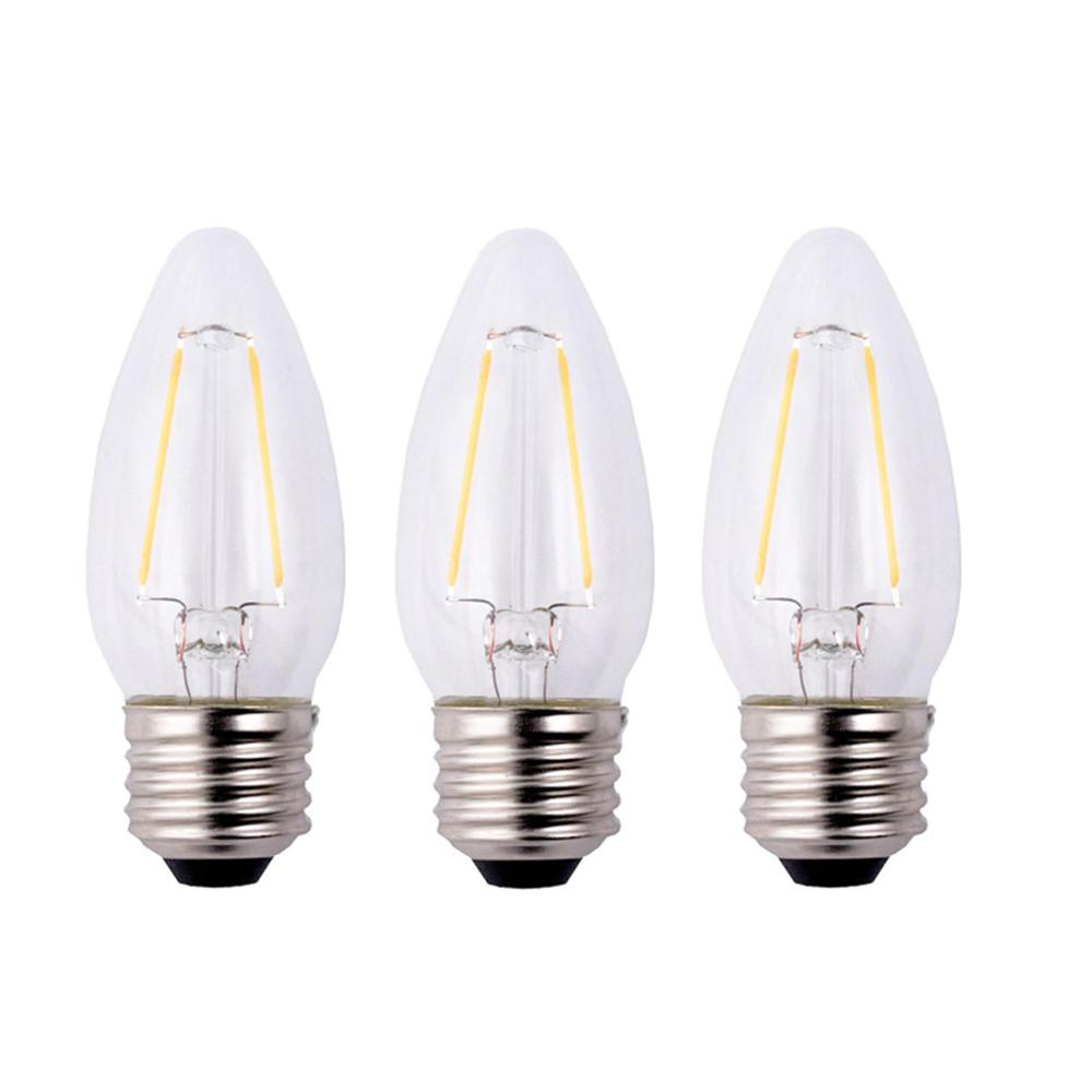 25-Watt Equivalent B11 Dimmable Clear Filament Vintage Style LED Light Bulb,