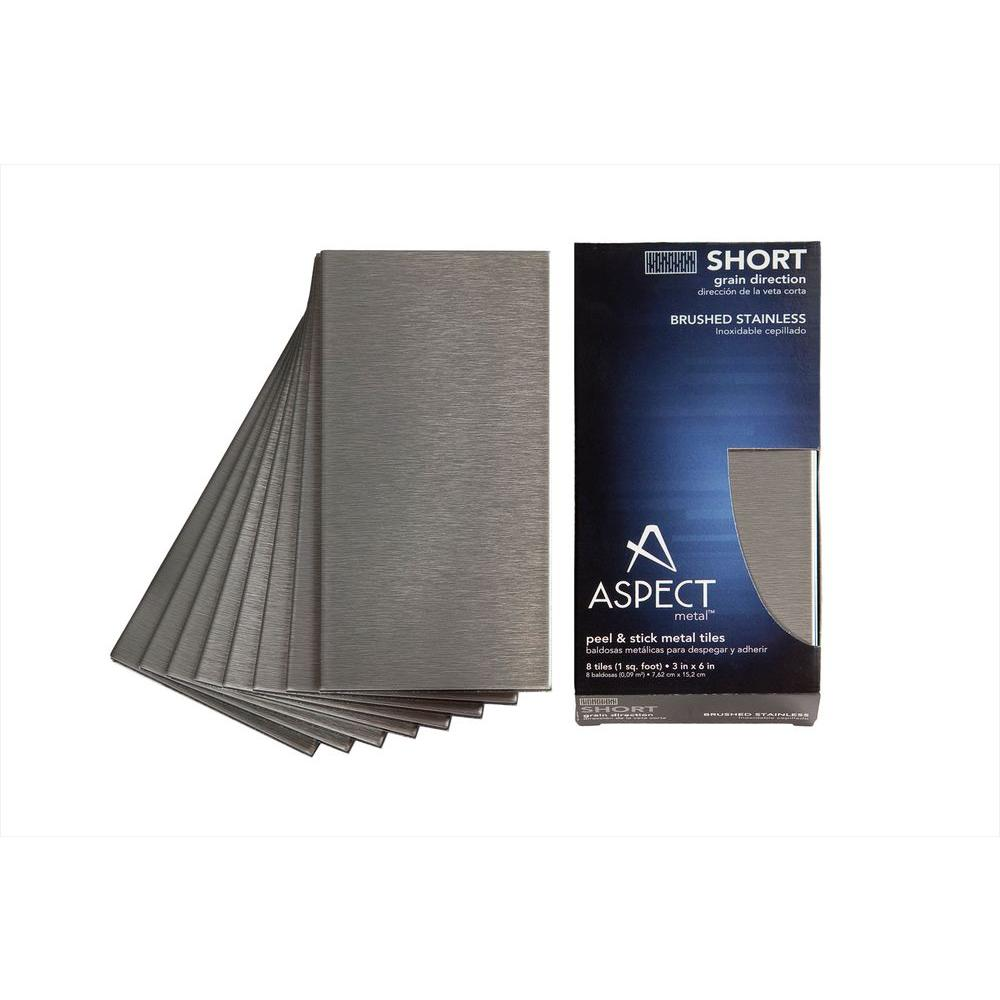 Aspect 3 in. x 6 in. Stainless-Steel Short Grain Decorative Wall Tile (8-Pack)-DISCONTINUED