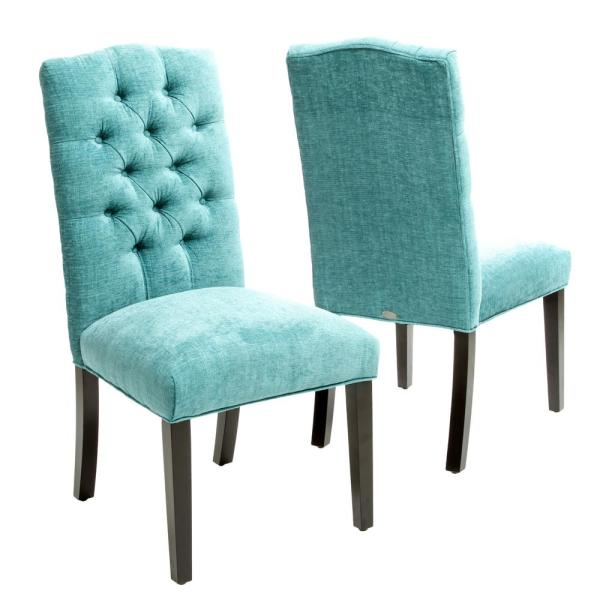 Crown Light Teal Fabric Dining Chair (Set of 2)