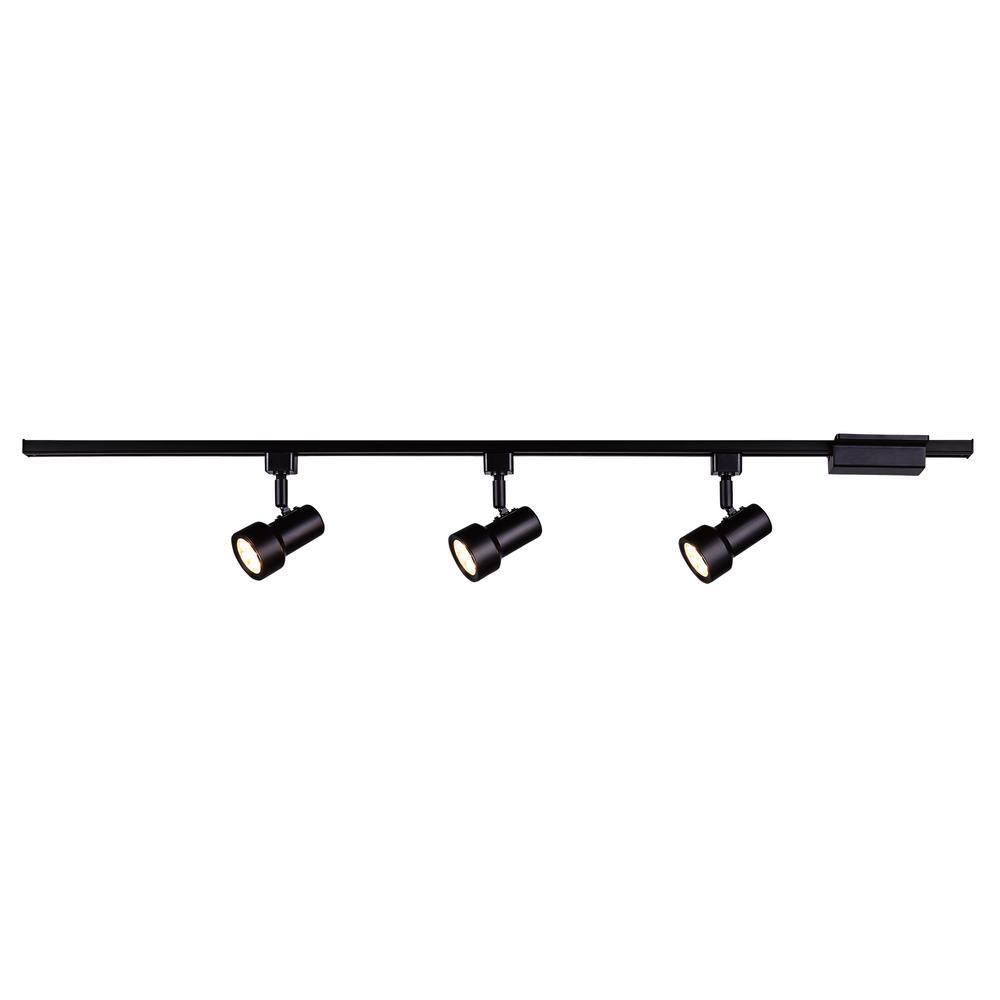 3-Light Mini Step 44 in. Black Integrated LED Linear Track Lighting Kit