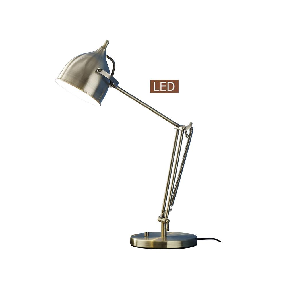 CAPRICE 27.5 in. Satin Brass LED Desk Lamp with Dimmer
