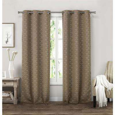 Micah 38 in. W x 84 in. L Polyester Window Panel in Taupe