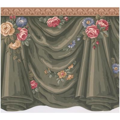 Victorian Green Curtains Roses Flowers Scalloped Extra Wide Prepasted Wallpaper Border