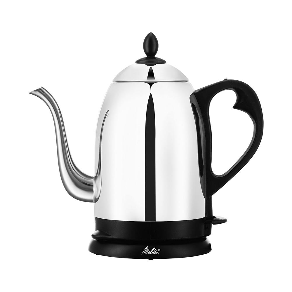 Pour Over Kettle, Silver A Stainless Steel electric cordless kettle is perfectly designed for pour over coffee. It has a unique gooseneck design spout for ease of controlling amount of hot water to be dispensed into the coffee dripper. It has small holes on the lid properly divert the steam to prevent steam burn. Color: Silver.