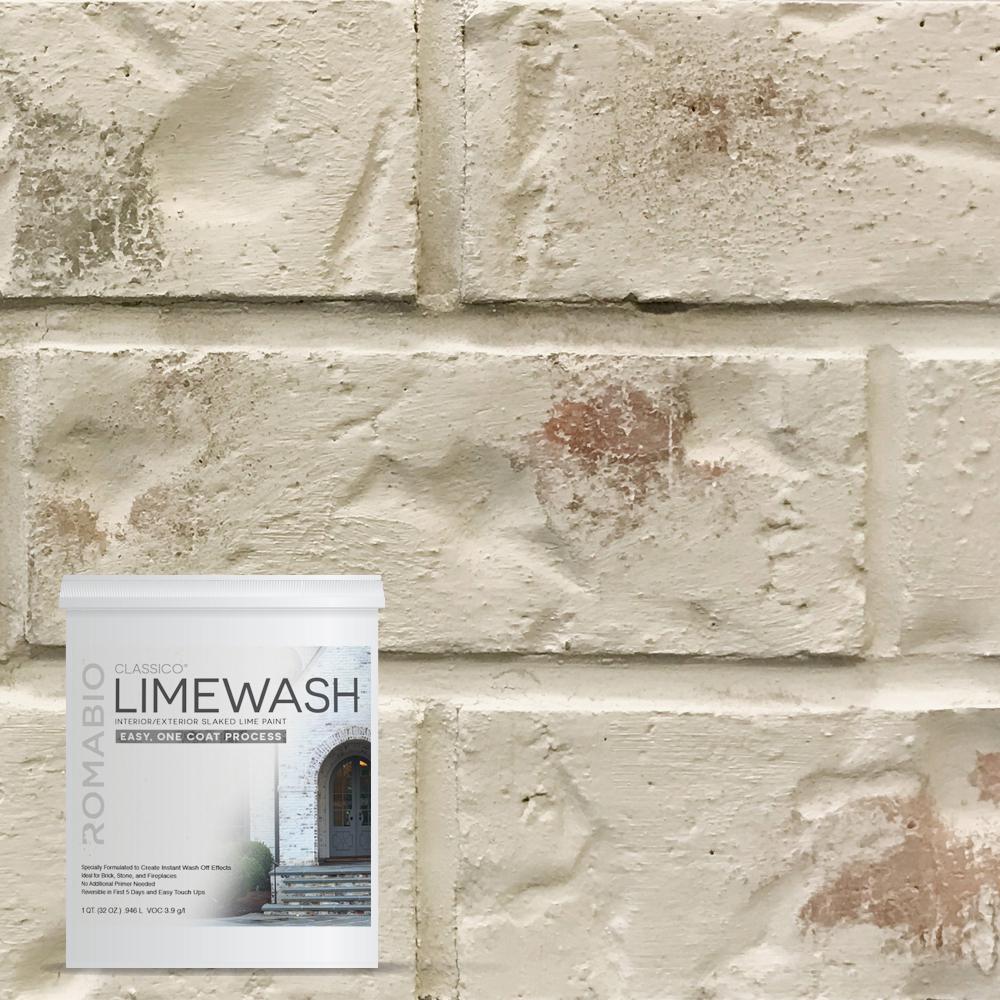 1 qt riposo beige limewash interior exterior paint 10116 for Concrete wall painting techniques