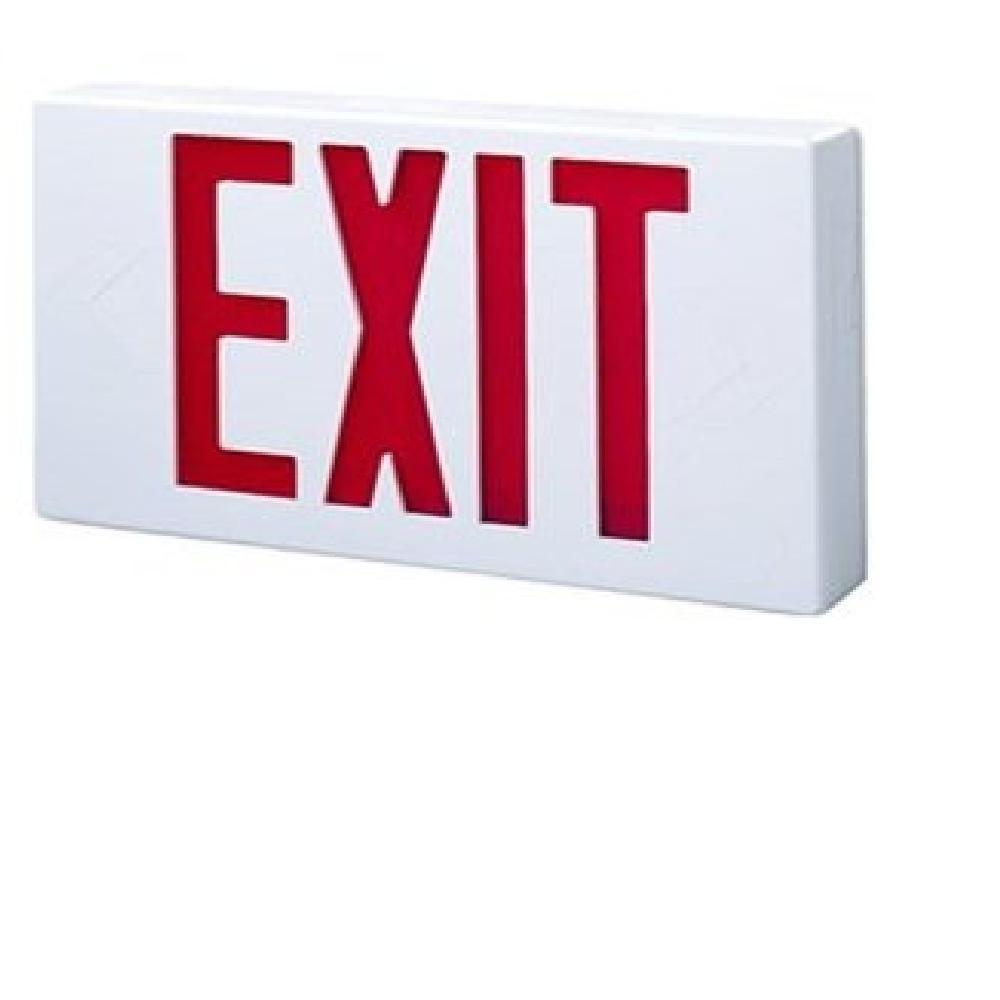 All Pro White Thermoplastic AC LED Exit Sign with Red Letters