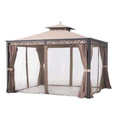 Briana 10 ft. x 12 ft. Brown Steel Soft Top Gazebo