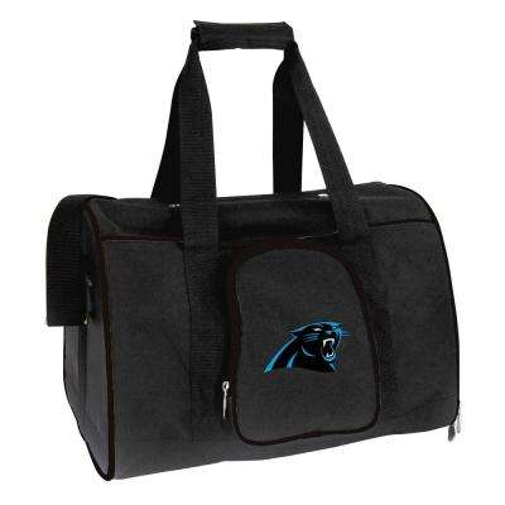 NFL Carolina Panthers Pet Carrier Premium 16 in. Bag in Black