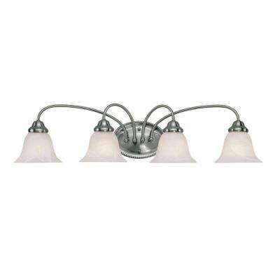 4-Light Satin Nickel Vanity Light with Faux Alabaster Glass
