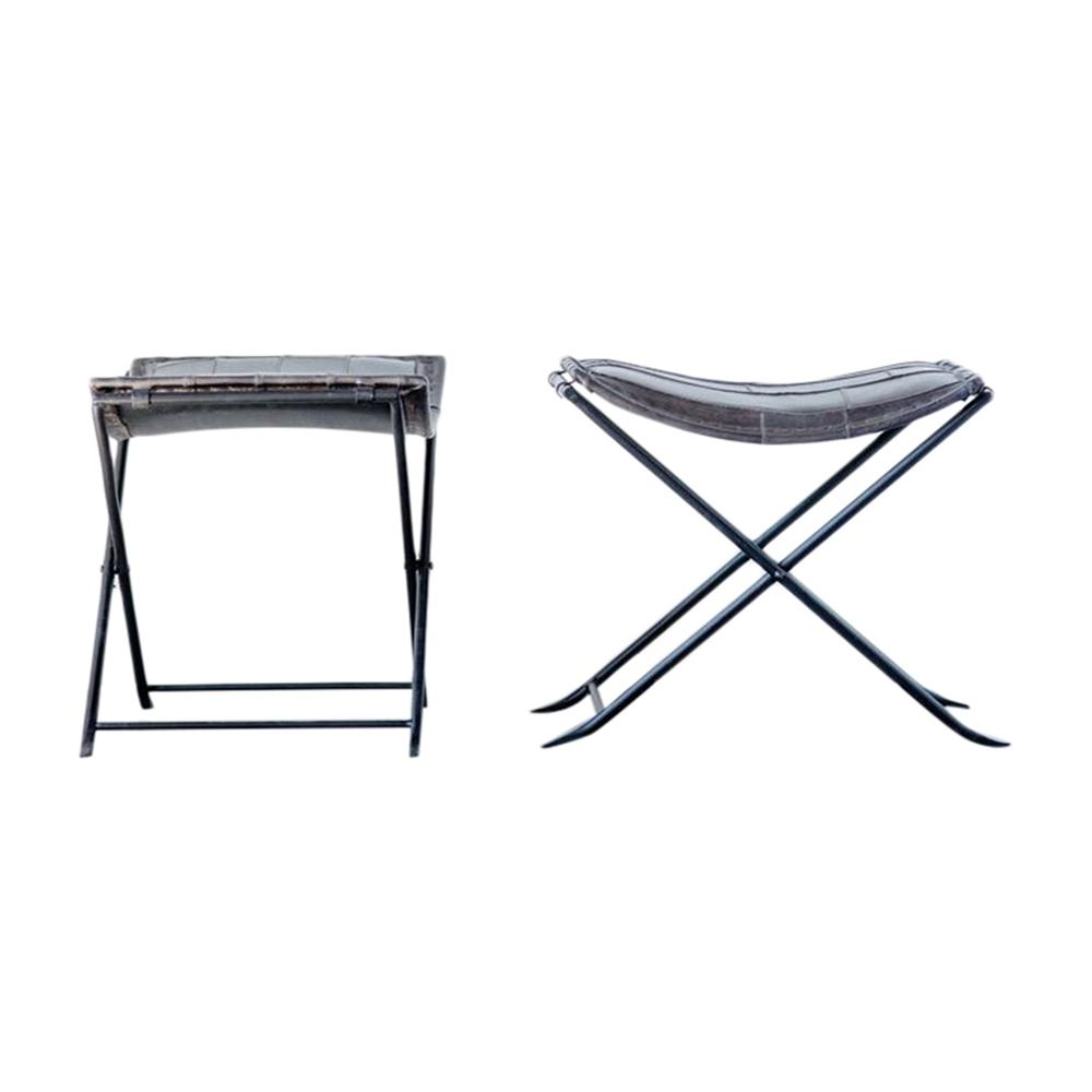Swell Sonoma 19 75 In Collapsible Charcoal Leather And Metal Stool Bralicious Painted Fabric Chair Ideas Braliciousco
