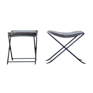Enjoyable Sonoma 19 75 In Collapsible Charcoal Leather And Metal Stool Pabps2019 Chair Design Images Pabps2019Com