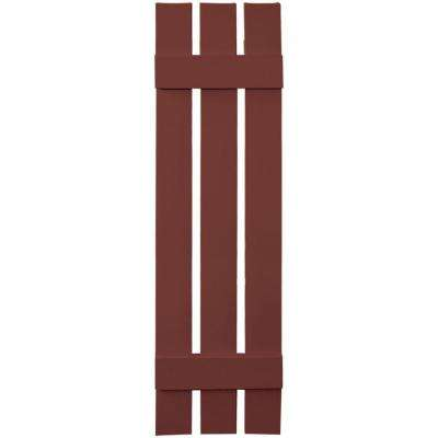 12 in. x 47 in. Board-N-Batten Shutters Pair, 3 Boards Spaced #027 Burgundy Red