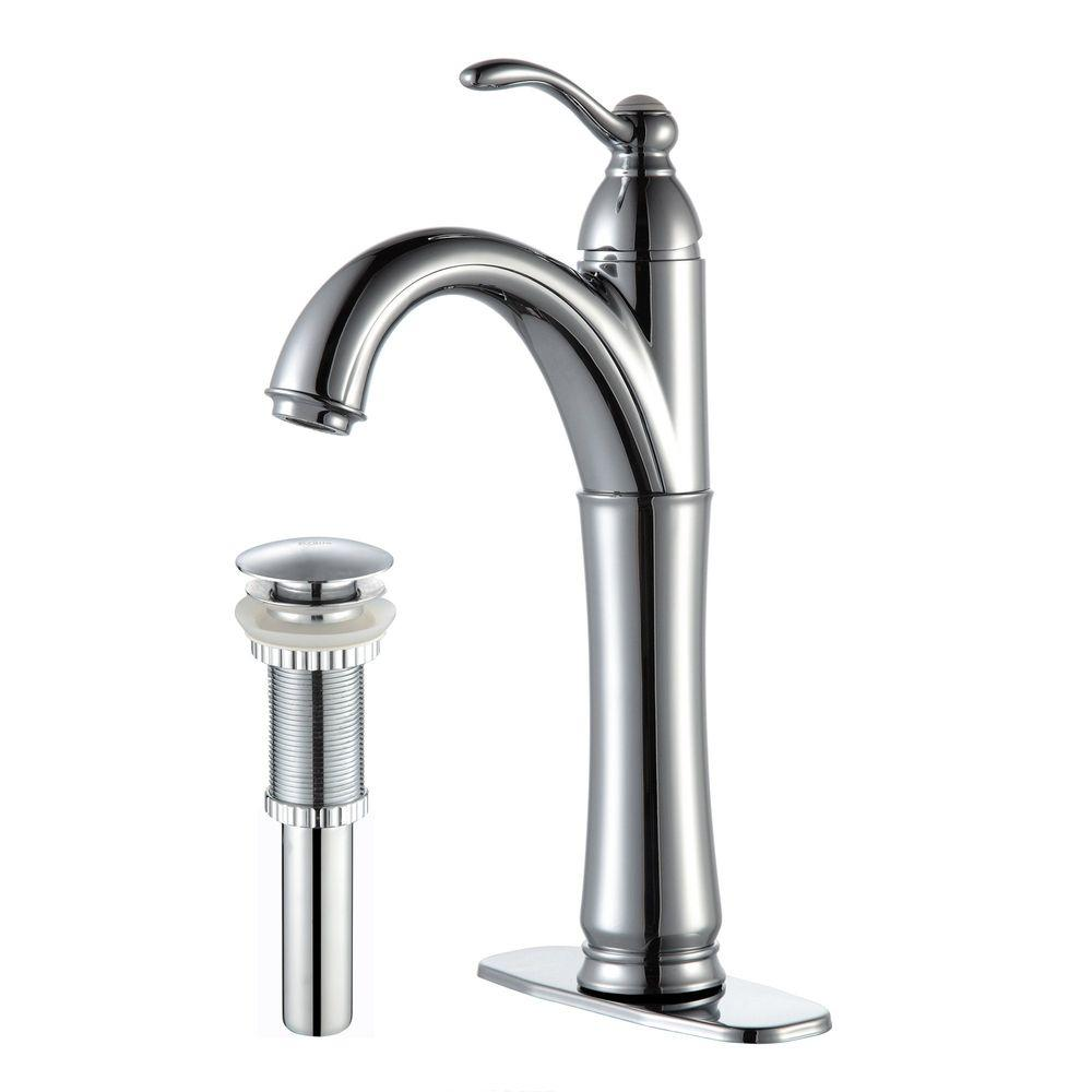 Riviera Single Hole Single-Handle Vessel Bathroom Faucet with Matching Pop Up