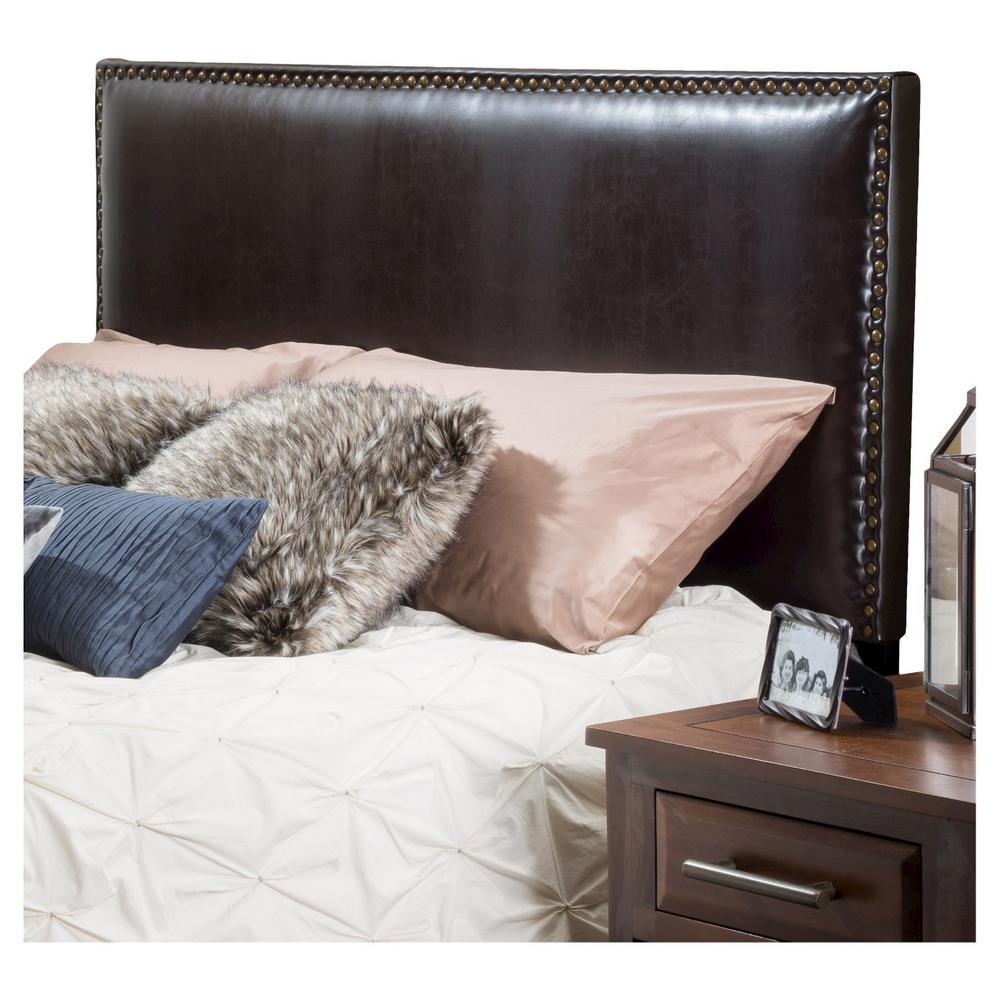 Brown Rectangular Queen/Full Adjustable Leather Headboard