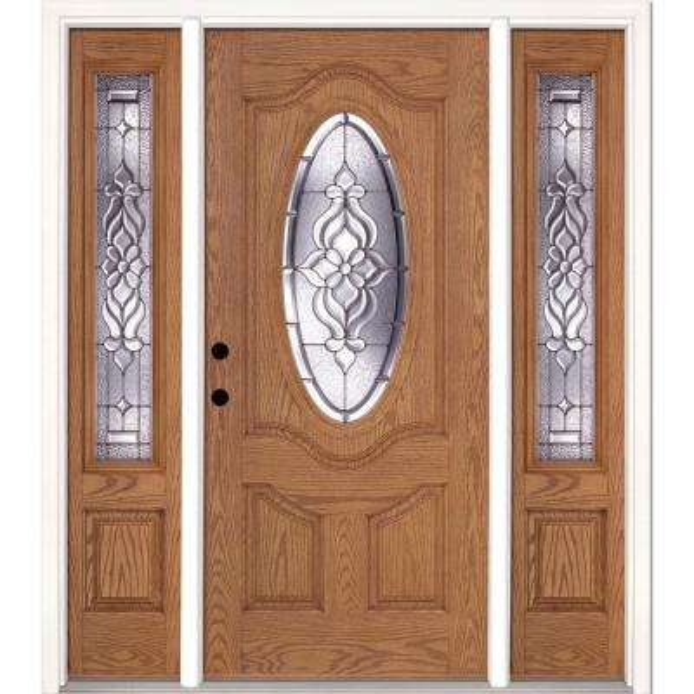 63.5 in.x81.625 in. Lakewood Zinc 3/4 Oval Lite Stained Light Oak Right-Hand Fiberglass Prehung Front Door w/ Sidelites