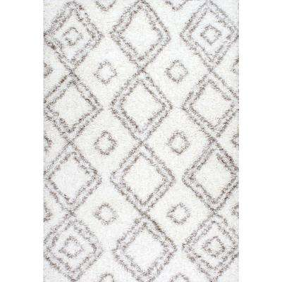 Iola Easy Shag White 5 ft. 3 in. x 7 ft. 6 in. Area Rug