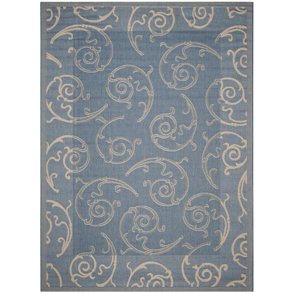 Courtyard Blue/Natural 5 ft. 3 in. x 7 ft. 7 in.