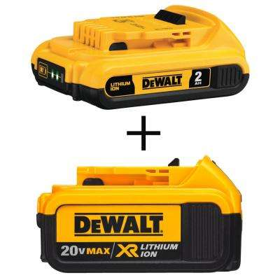 20-Volt MAX Lithium-Ion Compact Battery Pack 2.0 Ah and 20-Volt MAX XR Lithium-Ion Premium Battery Pack 4.0 Ah