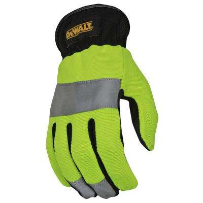 Large High Visibility Green and Silver Rapid Fit HV Work Glove