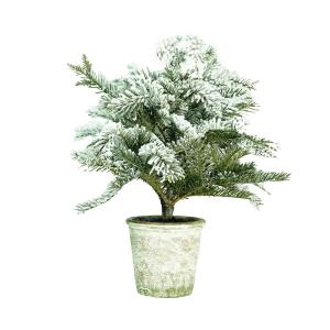 20 in. Artificial Flocked Pine Tree in Decorative Faux Paper Pot