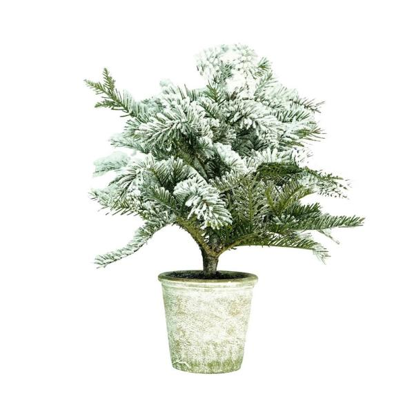 Northlight 20 In Artificial Flocked Pine Tree In Decorative Faux Paper Pot 32283914 The Home Depot
