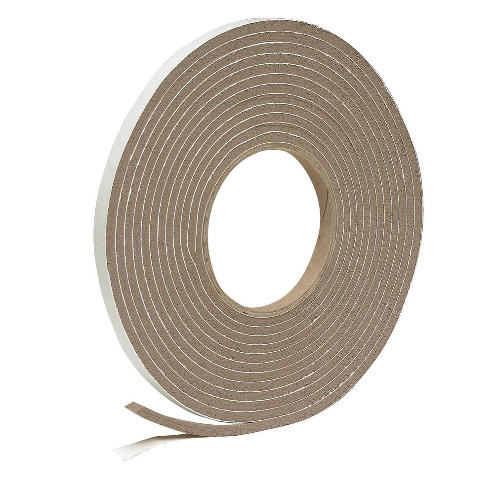 Frost King E/O 3/8 in. x 3/16 in. 17 ft. Brown Vinyl Foam Weather-Seal Self-Stick Tape